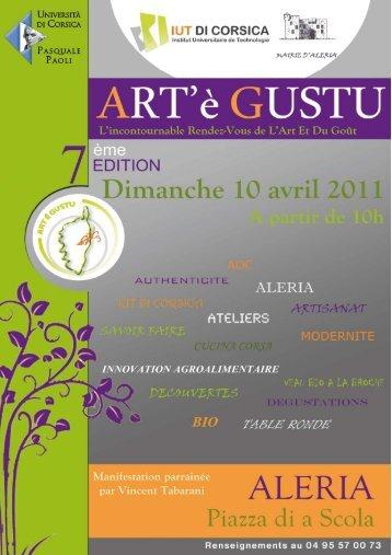 Univ Corse dossier Presse Art'è Gustu IUT 7 avril 2011