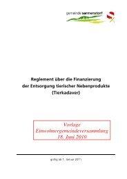 Reglement über die Finanzierung der Entsorgung tierischer ...