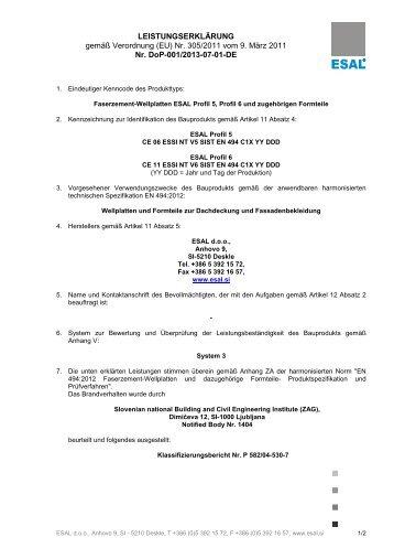 Leistungserklärung Welltafeln Profil 5 und 6 - FibreCem ...