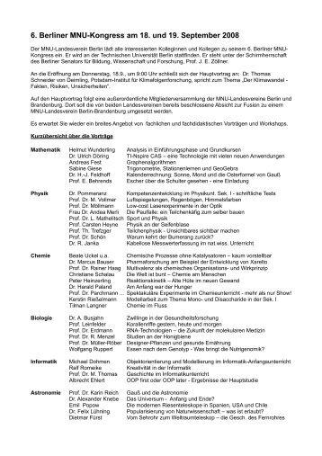 6. Berliner MNU-Kongress am 18. und 19. September 2008