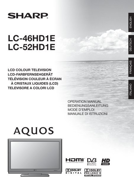 Manual pdf Sharp LC-52HD1E - Onyougo com