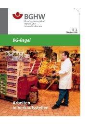 BG-Regel Arbeiten in Verkaufsstellen - Gesetze, Verordnungen ...