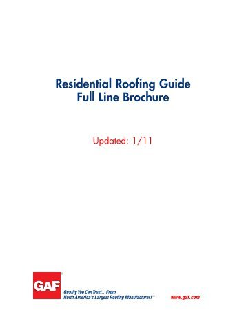 Residential Roofing Full Line Brochure - Huttig Building Products