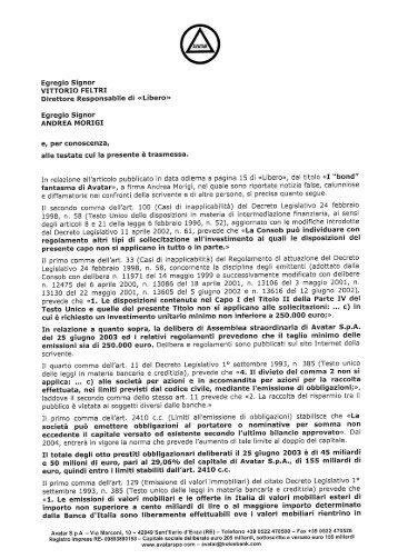 Lettera di Avatar a Vittorio Feltri ed Andrea Morigi (Â«Libero - Wgov.org