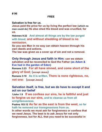 Salvation is free for us - Burning Bush Christian Crusades