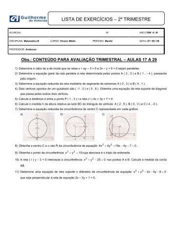 lista de exercícios - Colégio Guilherme de Almeida