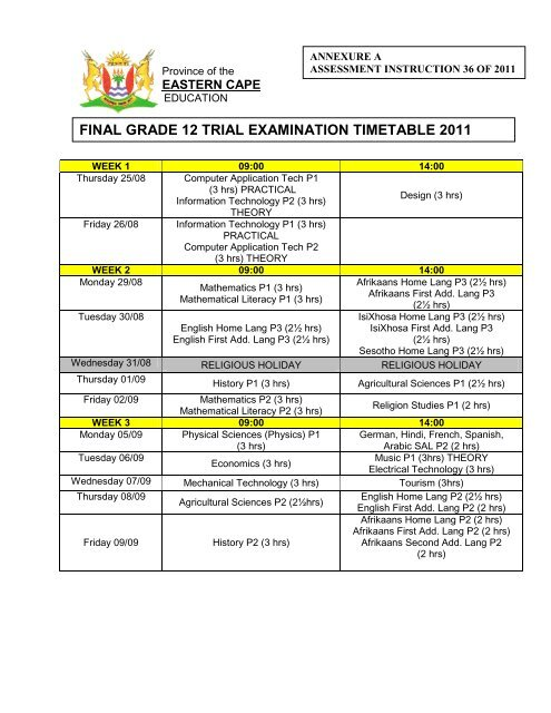 Final Grade 12 Trial Examination Timetable 2011