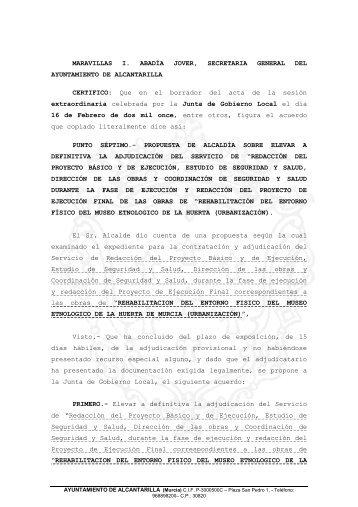 adjudicacion definitiva proyecto y direccion rehabilitacion entorno ...