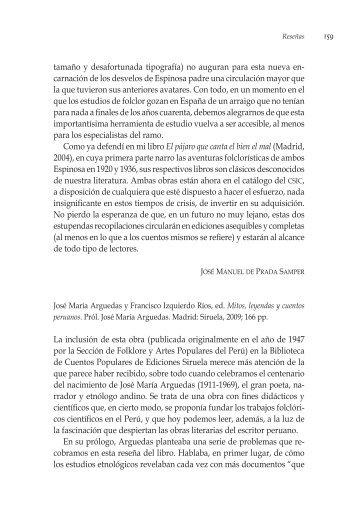 Mitos, leyendas y cuentos peruanos - Revista de Literaturas Populares