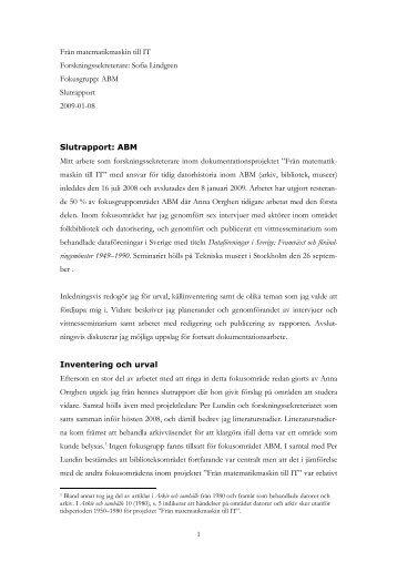 Slutrapport: ABM - Tekniska museet