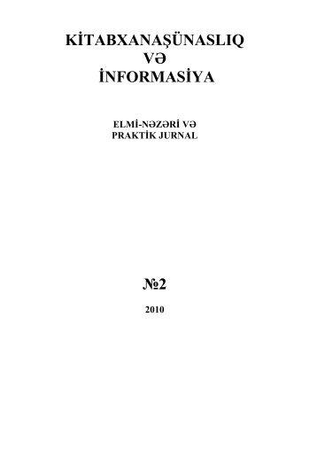 kitabxanaşünaslıq və informasiya №2 - Bakı Dövlət Universiteti