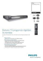 DVDR3480/58 Philips DVD-lejátszó és -felvevő - LCD és plazma TV ...