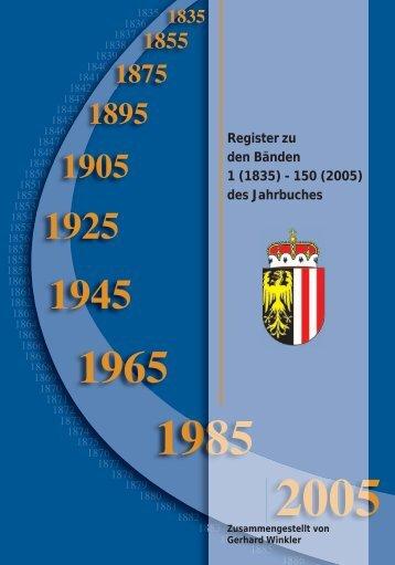 Register zu den Bänden 1 (1835) - 150 (2005) des Jahrbuches