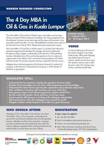 The 4 Day MBA in Oil & Gas in Kuala Lumpur - Warren Business ...