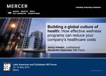 Building a global culture of health (PDF) - Mercer Signature Events