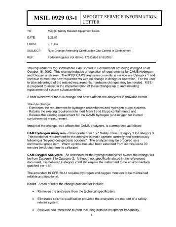 MSIL 092903-1 Rule Change Amending ... - AREVA NP Inc.