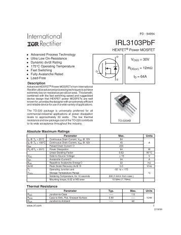 hexfet® power mosfet irfy9130cm international rectifier  irl3103pbf international rectifier