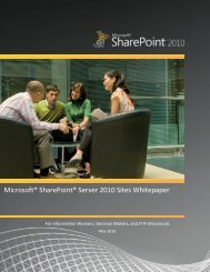 Microsoft® SharePoint® Server 2010 Sites Whitepaper - Exigy
