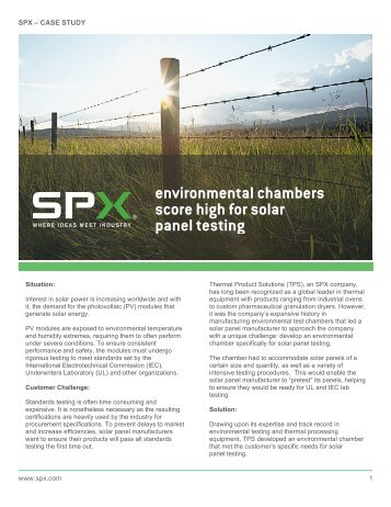 environmental chambers score high for solar panel testing - SPX