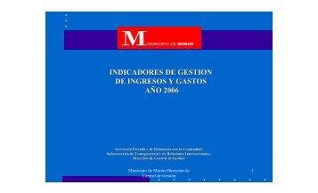 Indicadores de gestion ejercicio 2006 - Municipalidad de Morón