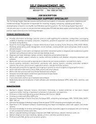 technology support specialist - Self Enhancement, Inc.