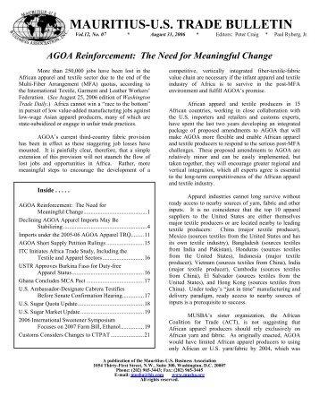 August Trade Bulletin - Mauritius. US Business Association, Inc.