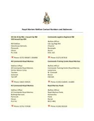 Royal Marines Welfare Contact Numbers and Addresses