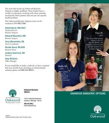 OAKWOOD BARIATRIC OPTIONS - Oakwood Healthcare System