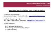 Aktuelle Rechtsfragen zum Internetauftritt - MD-ECZ