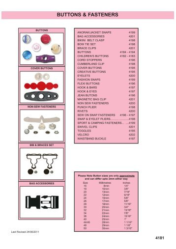 BUTTONS & FASTENERS - Squires Model and Craft Tools