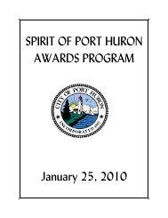 SPIRIT OF PORT HURON AWARDS PROGRAM ... - City of Port Huron
