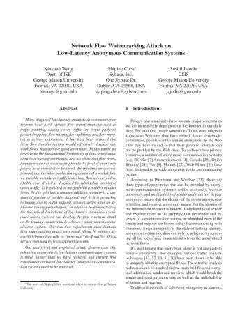 Network Flow Watermarking Attack on Low-Latency ... - CiteSeerX