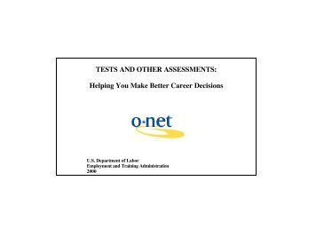 Tests and Other Assessments - O*NET Resource Center