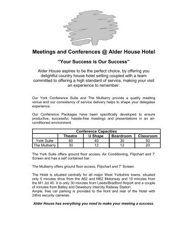 Meetings and Conferences @ Alder House Hotel - Rooms