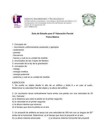 Guía de Estudio para 2ª Valoración Parcial Física Básica 1 ...