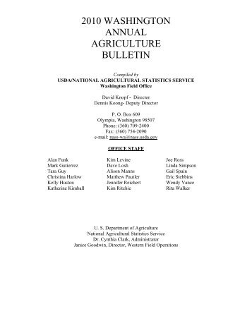 2010 washington annual agriculture bulletin - National Agricultural ...
