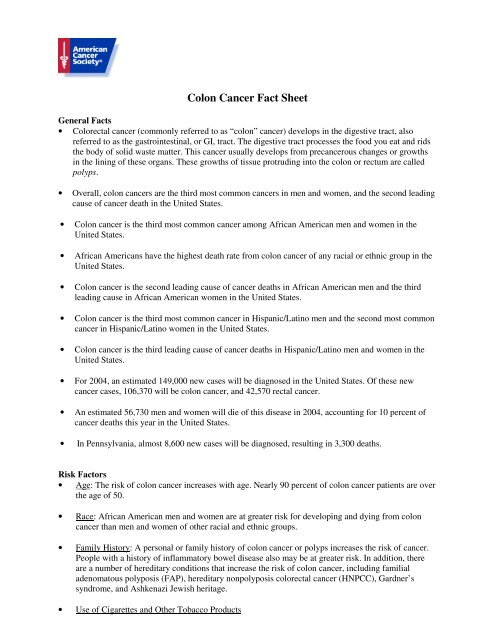 Colon Cancer Fact Sheet Lancaster General