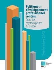 Politique de développement professionnel continu - Ordre des ...