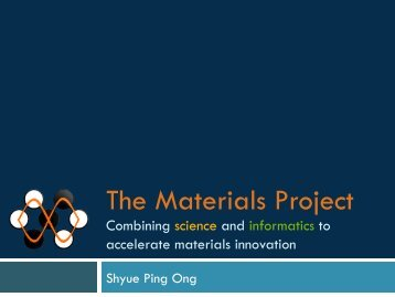 The Materials Project - Texas Advanced Computing Center