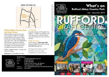 Rufford Craft Centre brochure July to December 2010
