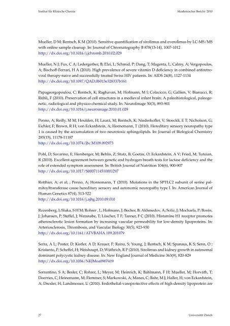 Akademischer Bericht 2010 - Institut für Klinische Chemie ...