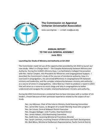 The Commission on Appraisal Unitarian Universalist Association ...