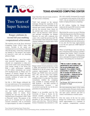 Two Years of Super Science - Texas Advanced Computing Center