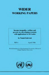 Income Inequality, Welfare and Poverty in a Developing ... - unu-wider