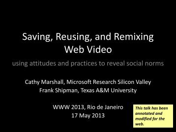 video reuse (WWW 2013) - Center for the Study of Digital Libraries