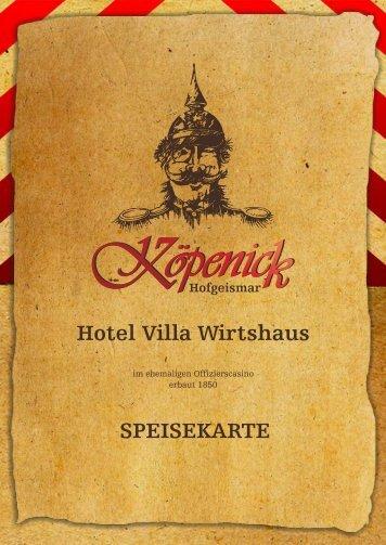 Hotel Villa Wirtshaus SPEISEKARTE - Wirtshaus Köpenick
