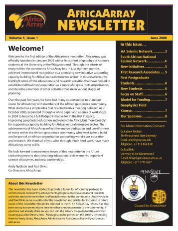 View web-optomized newsletter - AfricaArray - Penn State University