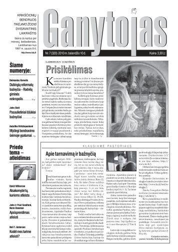 Nr. 7 (320) 2010 m. balandžio 10 d. - Krikščionių bendrija TIKĖJIMO ...