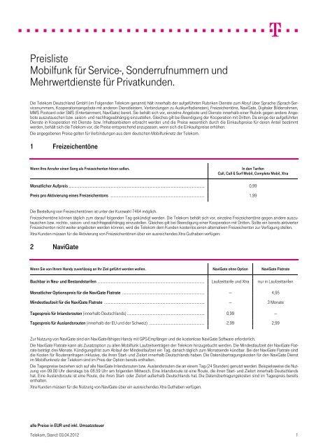 Preisliste Mobilfunk Für Service Deutsche Telekom