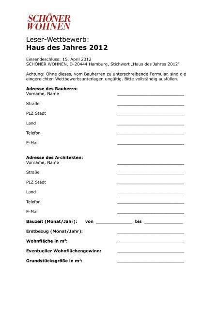 Leser Wettbewerb Haus Des Jahres 2012 Schöner Wohnen